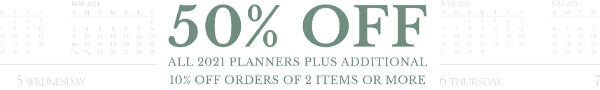 50% off all 2021 planners plus additional 10% off orders of 2 items or more