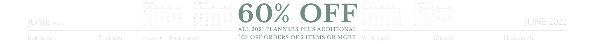 60% off all 2021 planners plus additional 10% off orders of 2 items or more