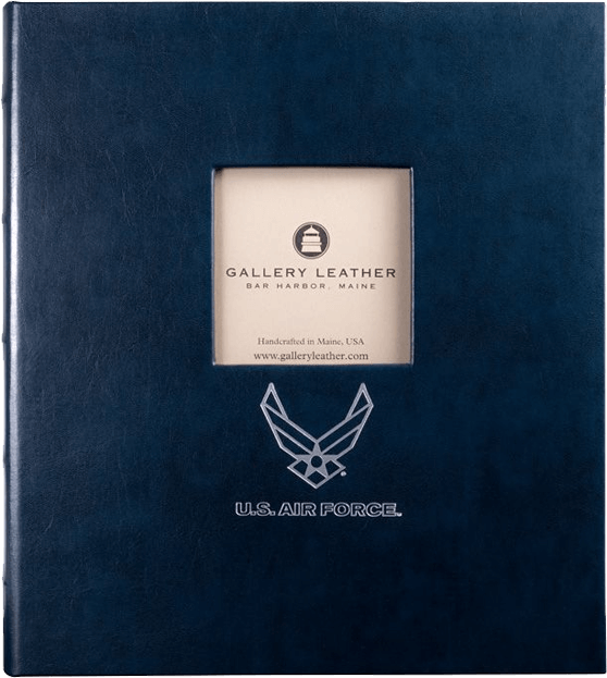 USAF Leather Presentation Binder - 1 1/4 With Window and Hubbed Spine