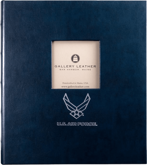 USAF Leather Presentation Binder - 3/4 With Window and Hubbed Spine