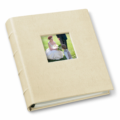 leather compact photo album with window